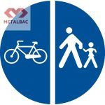 Delimitarea pistelor pentru pietoni de cele destinate bicicletelor si mopedelor, D11, D12
