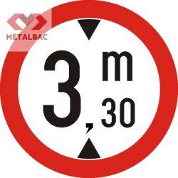 Accesul interzis vehiculelor cu înălţimea mai mare de ... m, C17