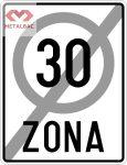 Sfârşitul zonei cu viteză limitată la 30 km/h, C45